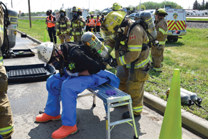 Emergency services act out train derailment scenario in